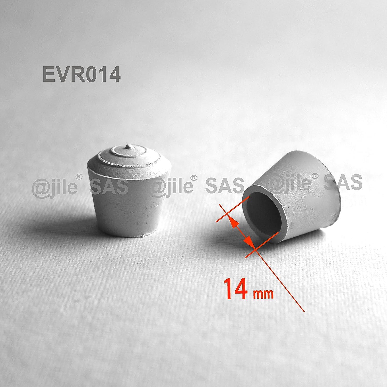 BLANC 4 pi/èces Embout enveloppant rond en caoutchouc naturel pour tubes de diam 14 mm ajile EVR014-M