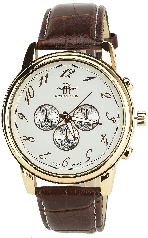 Michael John – Armbanduhr Silber Gold Rosa Quartz GehÄuse Stahl Analog Armband Kunstleder Braun