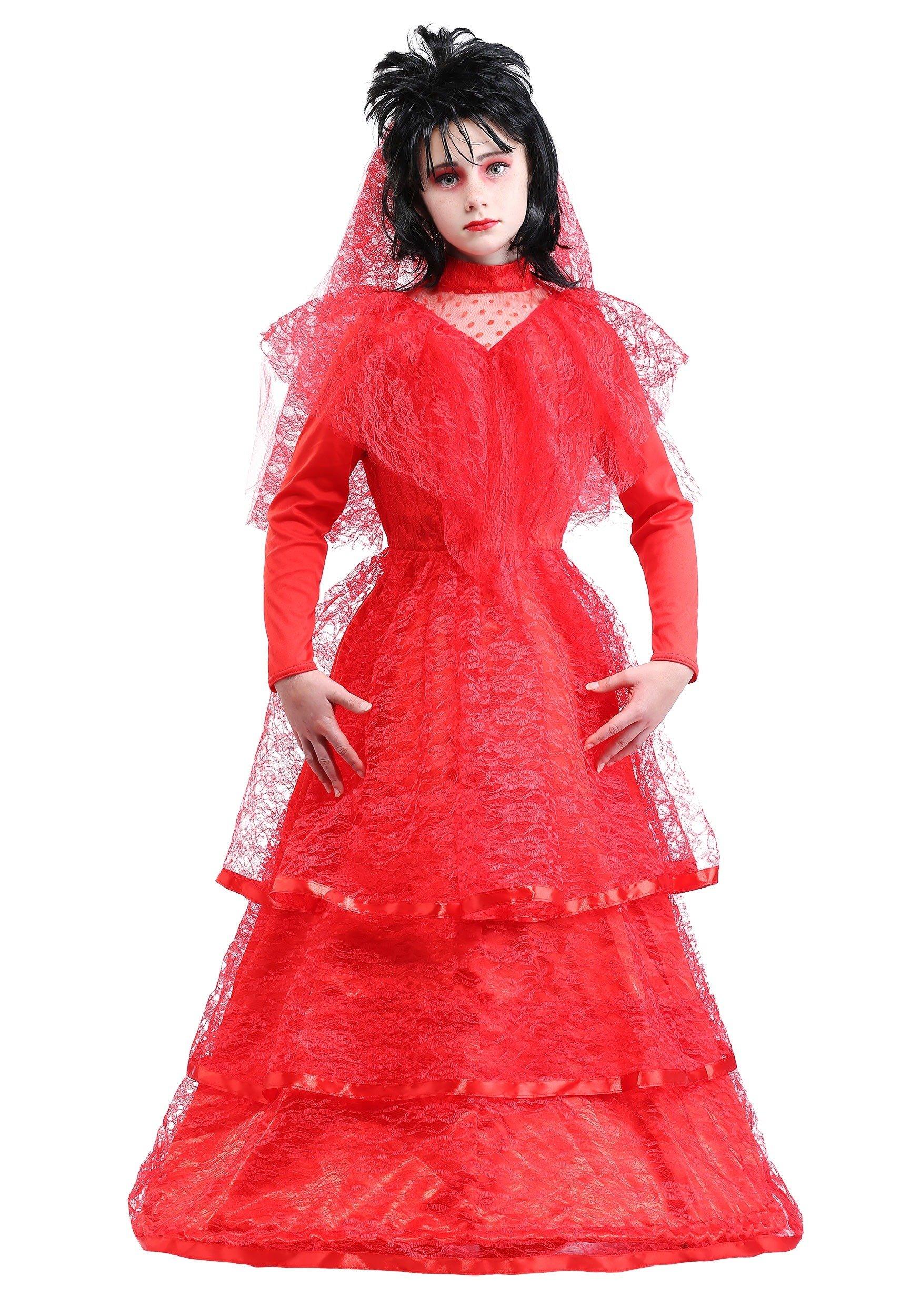 Child Gothic Red Wedding Dress - S