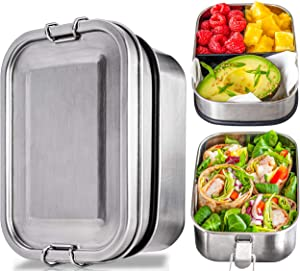 Stainless Steel Bento Box Set – 2-Leak-Proof-Layer Silicone-Sealed Bento Lunch Box for Kids, Adults – Stainless Steel Lunch Box Containers – Meal Prep Container with Removable Snack Box!