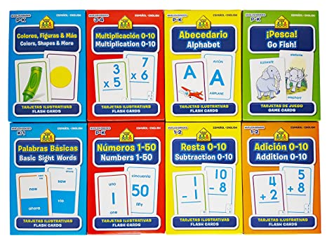 School Zone Spanish English Bilingual Flash Cards 8-Pack (Addition, Subtraction 0-