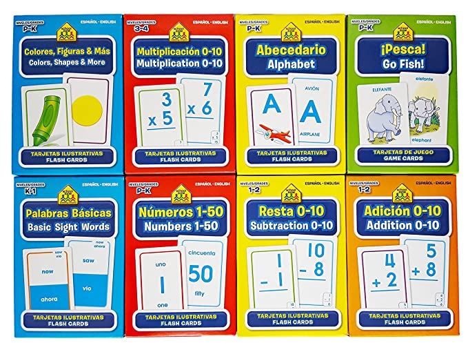 School Zone Spanish English Bilingual Flash Cards 8-Pack (Addition, Subtraction 0-10, Multiplication 0-20, Go Fish, Alphabet, Numbers 1-50, ...