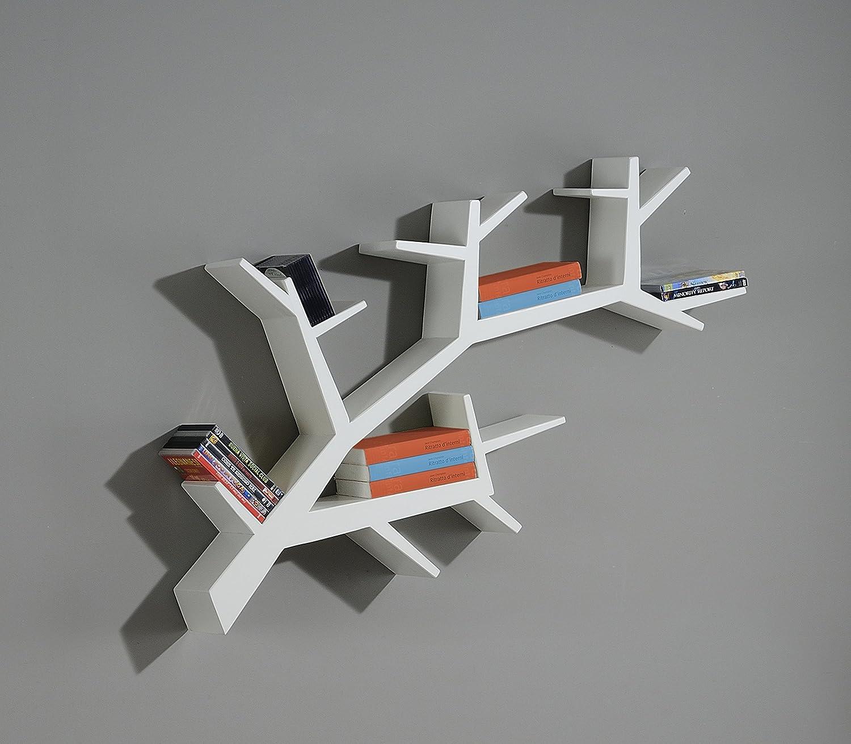 Libreria a forma di albero libreria artigianale a forma for Mensola laccata bianca