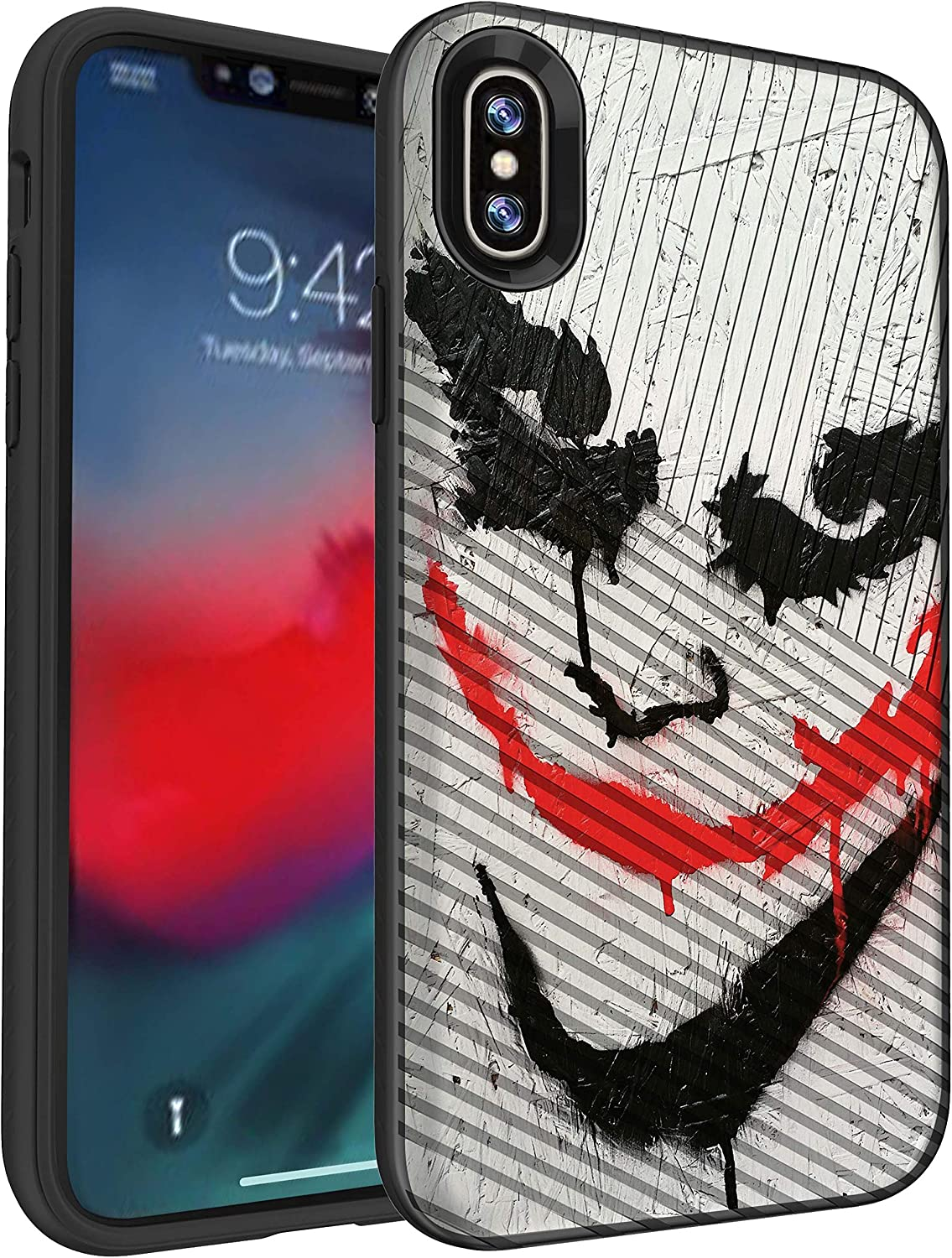 MINITURTLE Compatible with Apple iPhone XR Slim Embossed Grip Texture Hard Shell Case Cover - Joker
