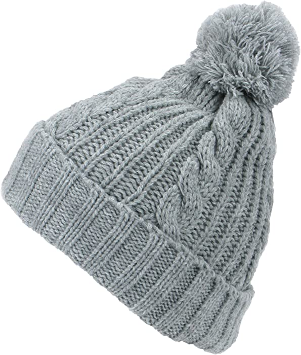 Ladies Cable Knitted Beanie Slouch Hat Fairisle Bobble Pom Pom Ski Adults Cap