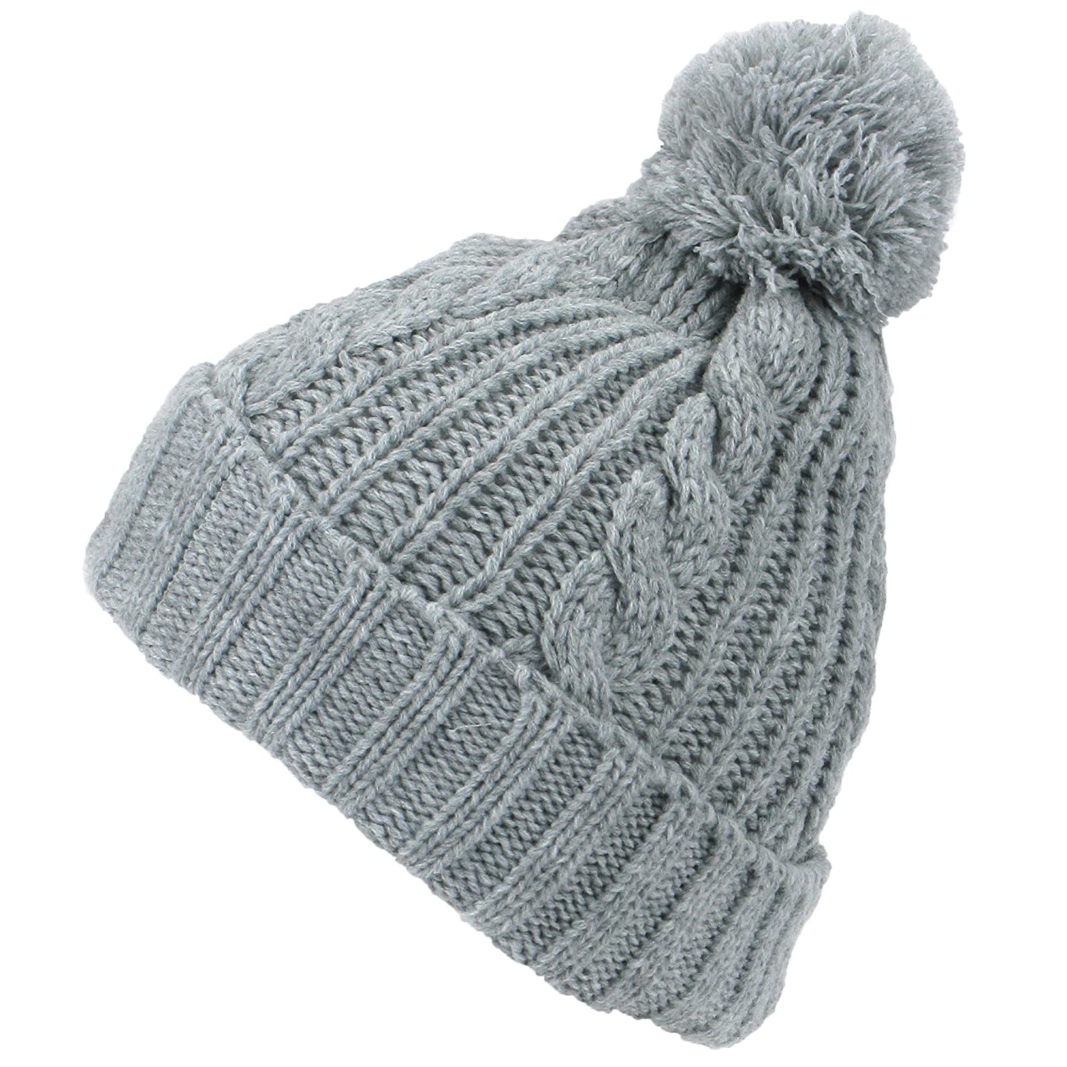 056ca76960d Hawkins GREY CABLE KNIT BOBBLE HAT WARM WINTER BEANIE with POM POM   Amazon.co.uk  Clothing