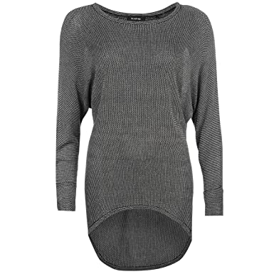Firetrap Womens Dropped Hem Knit Jumper Sweater Pullover Long Sleeve Round  Neck Charcoal Marl (M bc8fc497a