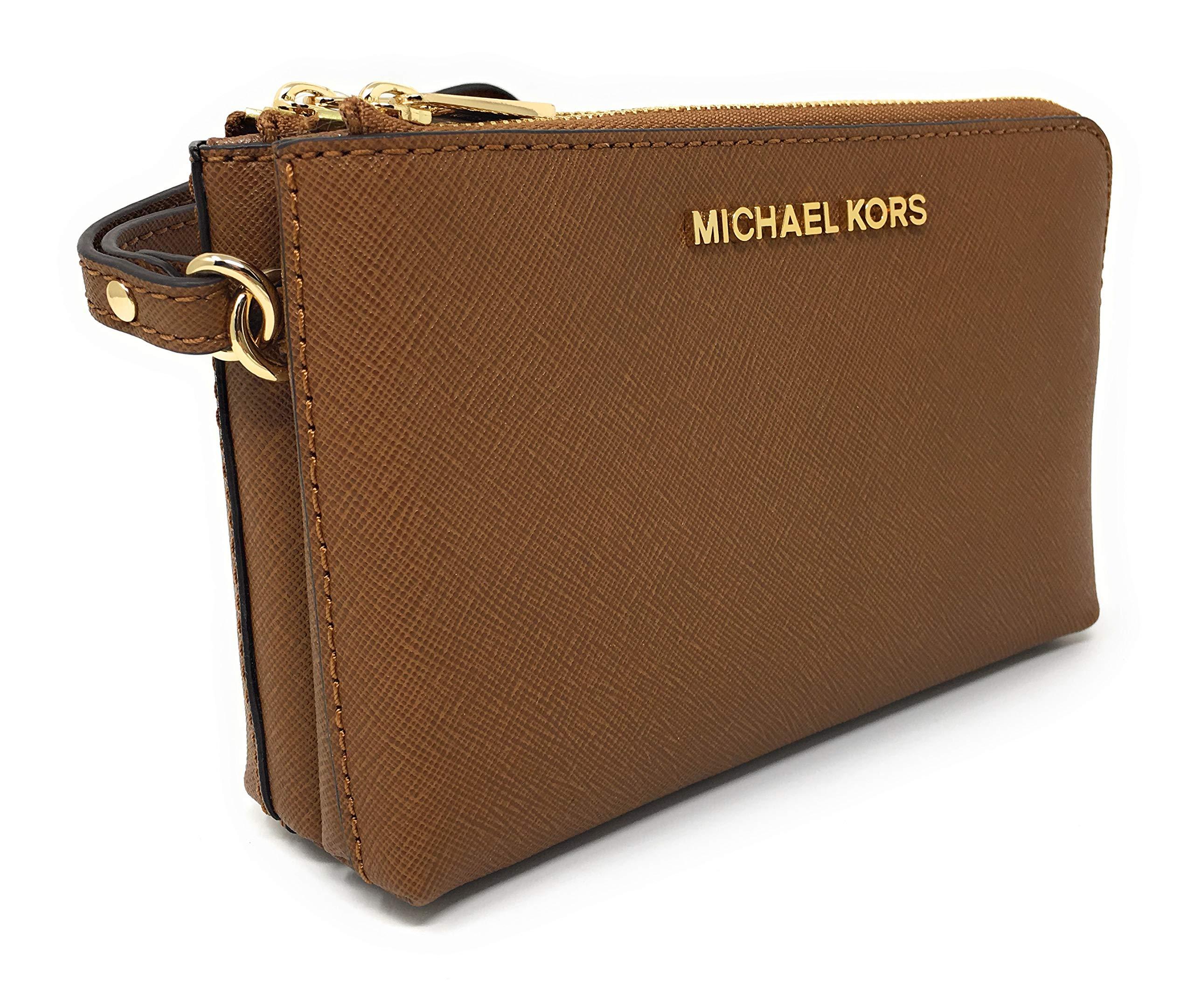 Michael Kors Jet Set Travel Large Double Gusset Top Zip Saffiano Leather Wristlet (Luggage)