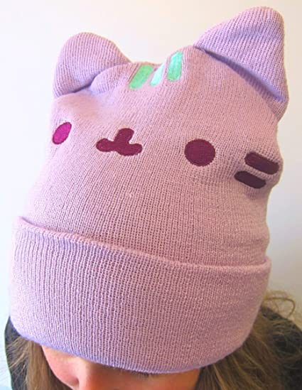 a1c3a2fec0f Pusheen The Cat with Heart   Ears Cuffed Beanie Hat  Amazon.ca  Sports    Outdoors