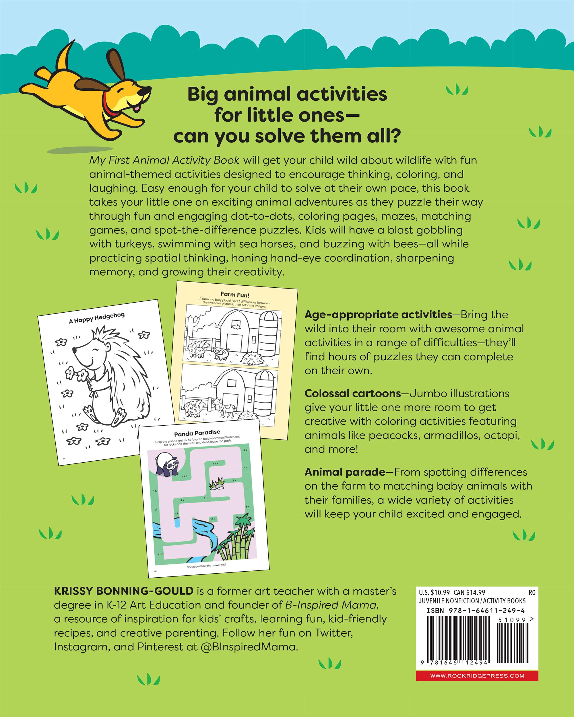 My First Animal Activity Book For Kids 3 5 Bonning Gould Krissy