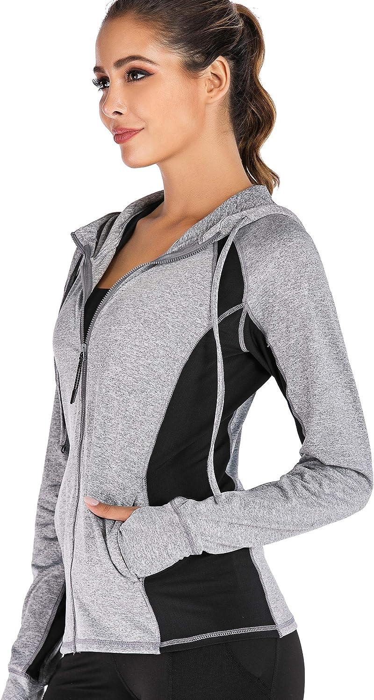 JUANGLA Women Yoga Jacket Full Zip Hooded Sports Running Jackets Training Lightweight Athletic Workout Track Jacket