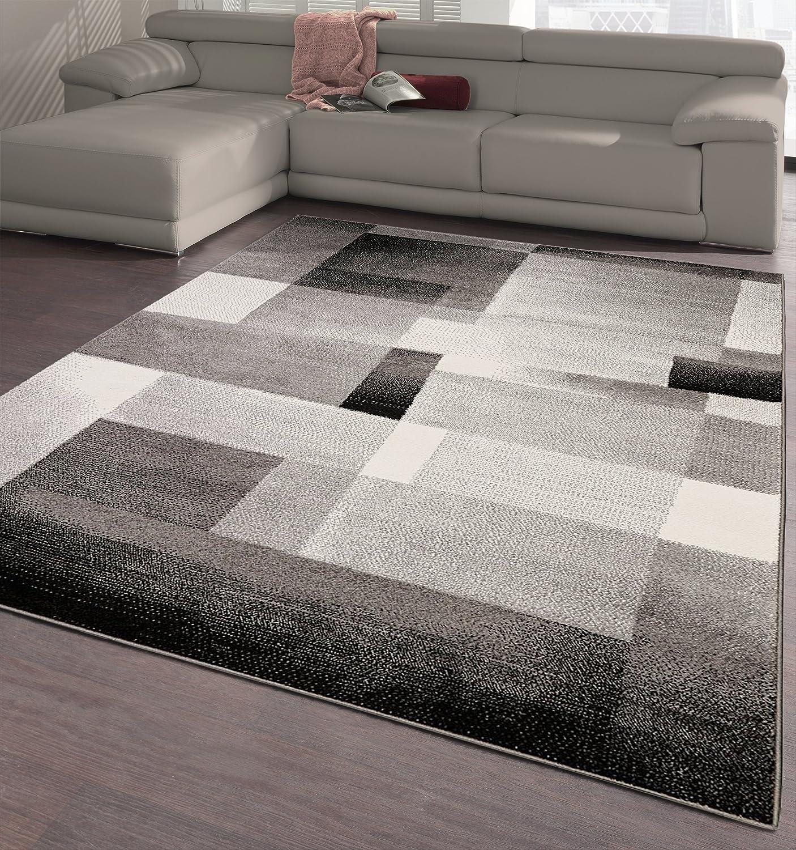 Amazon Com Ottomanson City Collection Modern Area Rug Contemporary Sculpted Effect Abstract Rug 5x7 5 3 X 7 3 5 3 X 7 3 Black Grey Tiles Furniture Decor