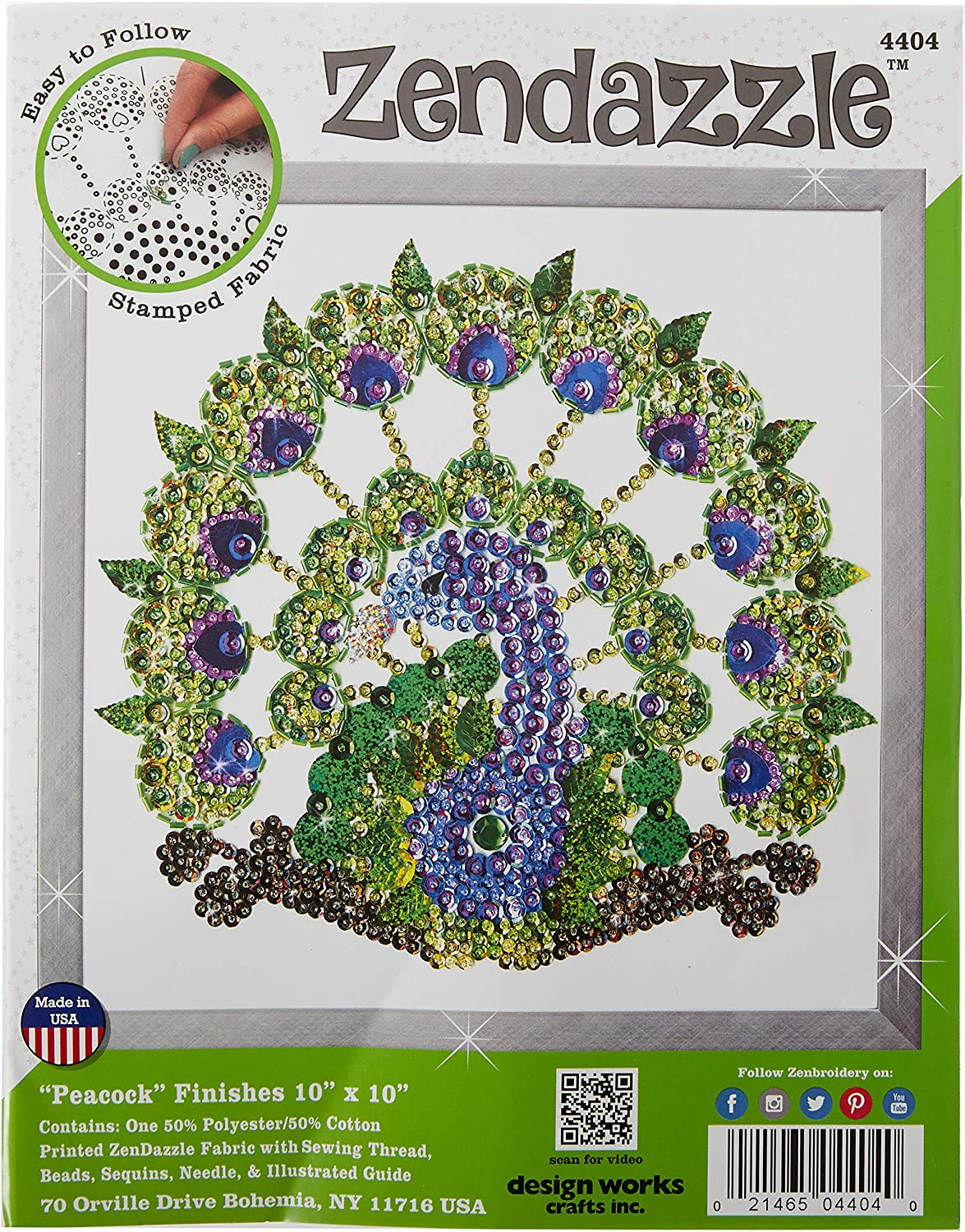 Tobin 4404 10 x 10 Peacock Design Works//Zendazzle Stamped Needleart Kit Blue