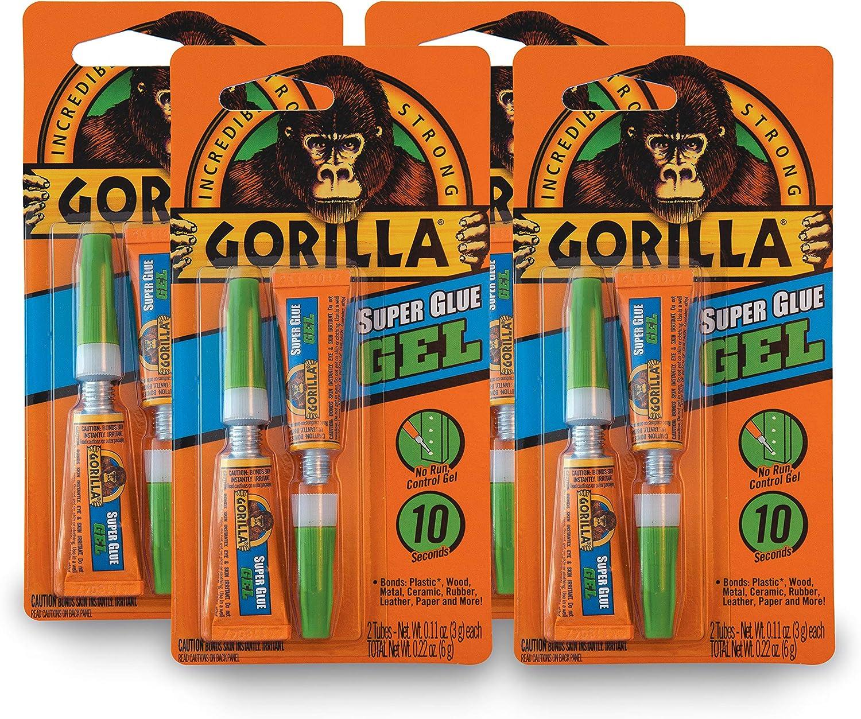 Gorilla Super Glue Gel, Two 3 Gram Tubes, Clear, (Pack of 4)