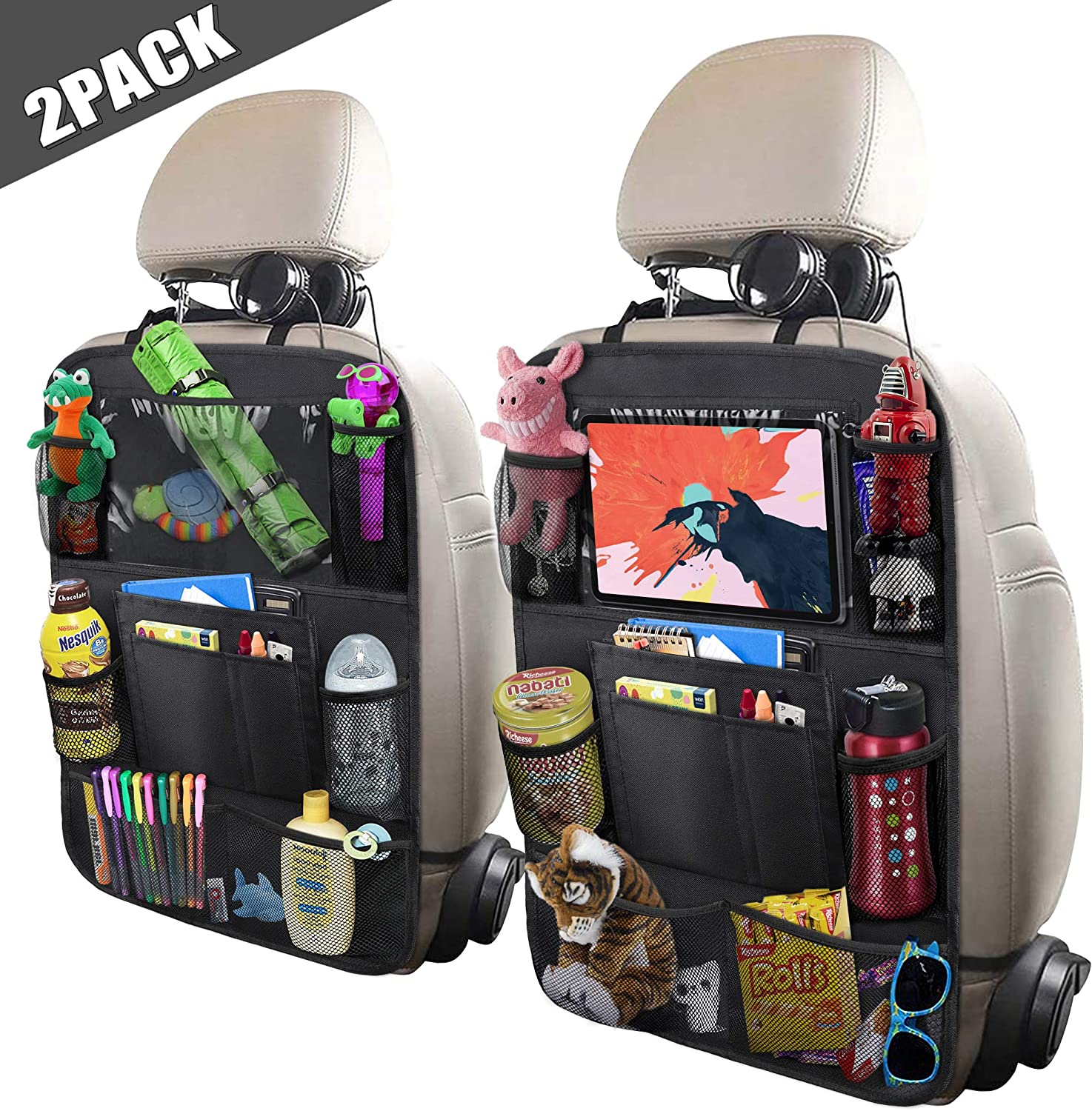 Car Back Seat Organizer Kick Mat Car Backseat Protector with Touch Screen Tablet Holder Storage Pockets for Toys Book Bottle Drinks Kids Baby Toddler Travel Accessories
