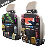 "ULEEKA Car Backseat Organizer with 10"" Tablet Holder + 9 Storage Pockets Seat Back Protectors Kick Mats for Toy Bottle Book Drink, Universal Fit Travel Accessories for Kid & Toddlers (2 Pack)"