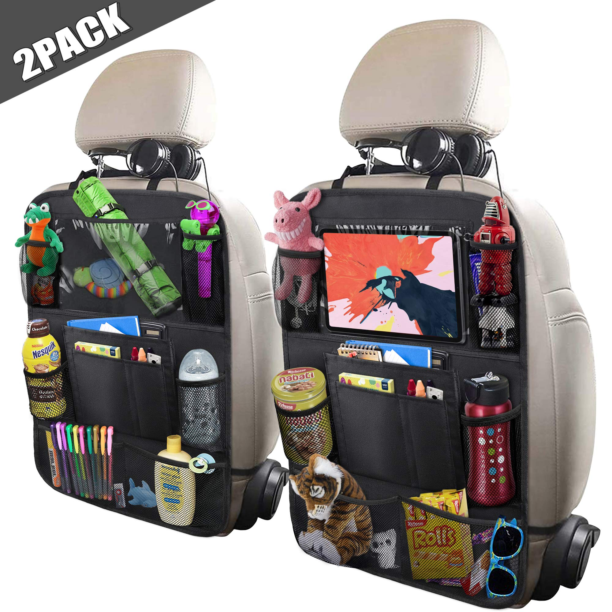 ULEEKA Car Backseat Organizer with 10'' Tablet Holder + 9 Storage Pockets Seat Back Protectors Kick Mats for Toy Bottle Book Drink, Universal Fit Travel Accessories for Kid & Toddlers (2 Pack) by ULEEKA