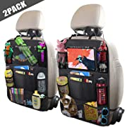 ULEEKA Car Backseat Organizer with 10  Tablet Holder + 9 Storage Pockets Seat Back Protectors Kick Mats for Toy Bottle Book Drink, Universal Fit Travel Accessories for Kid & Toddlers (2 Pack)