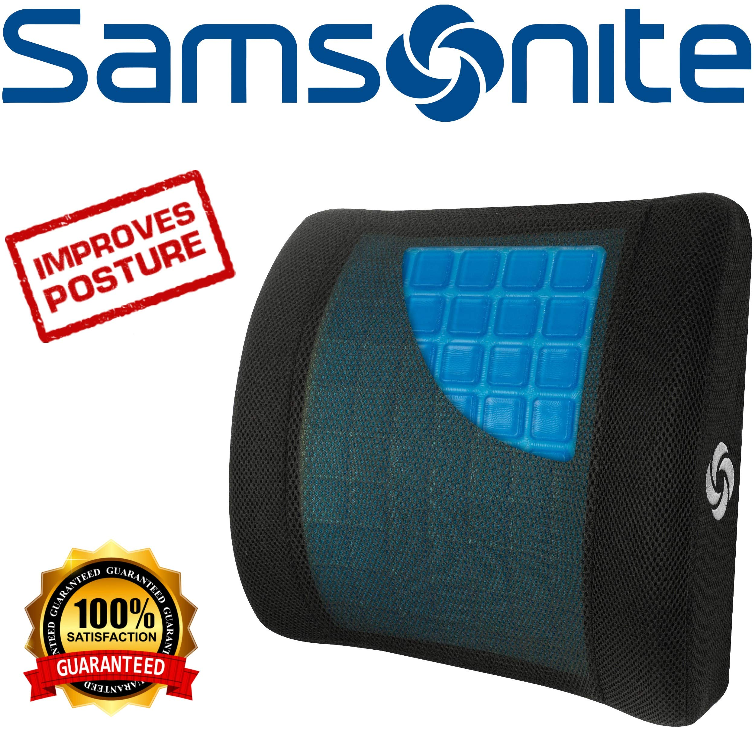 Samsonite SA6086 - Lumbar Support Pillow with Mild Cooling Gel [Cooling effect is subjective, and varies by personal sensitivity] - Helps Relieve Lower Back Pain - Premium Memory Foam