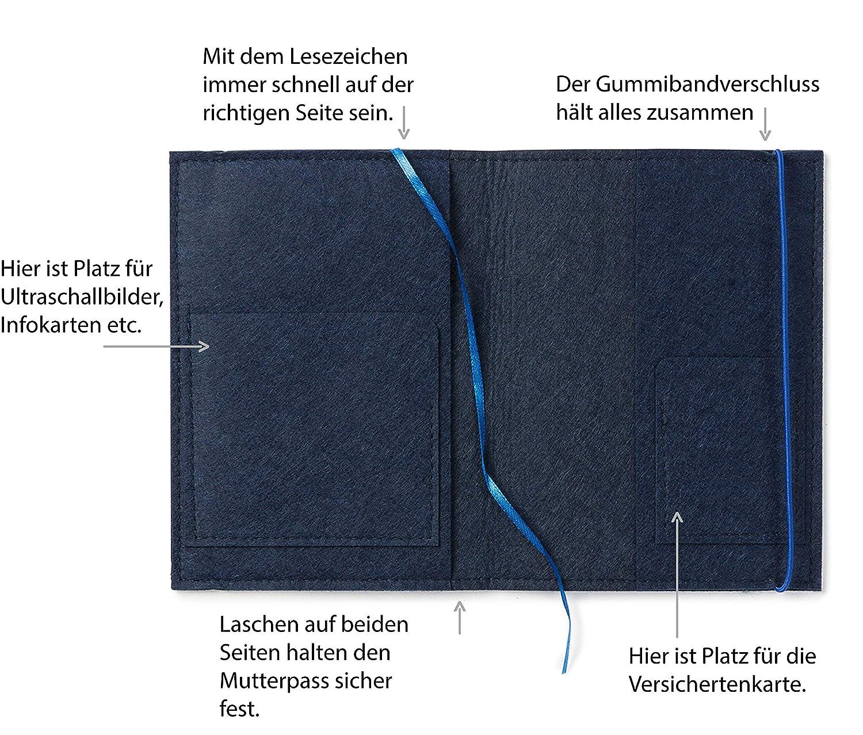Farbe//Motiv w/ählbar Mutterpassh/ülle Filz Punkte Design H/ülle f/ür deutschen Mutterpass mit Lesezeichen /& F/ächern