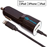 Apple Certified Lightning Car Charger - 3.1 Amp - For iPhone 7 Plus 7 6S Plus 6 S 5S 5C 5 SE - Cable & USB Socket Rapidly Charges 2 Devices - Keeps You Connected On The Road