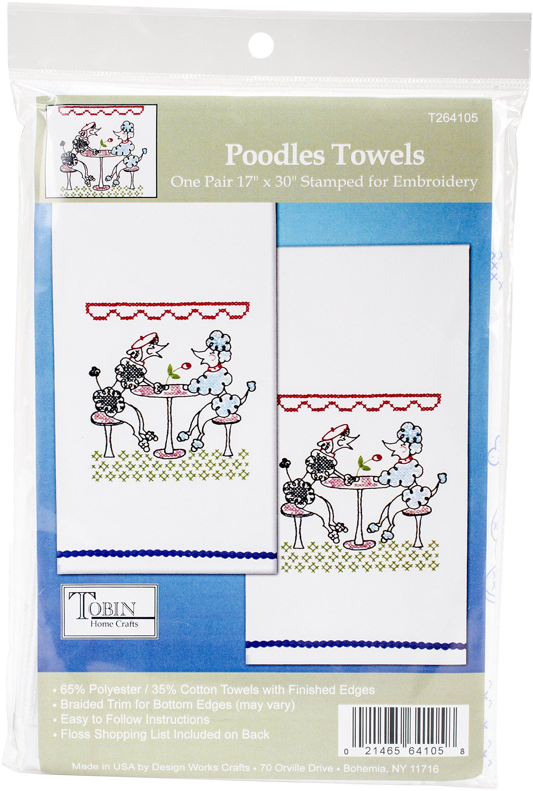Tobin Stamped For Embroidery Kitchel Towels 18''X28'' 2/Pkg-Poodles