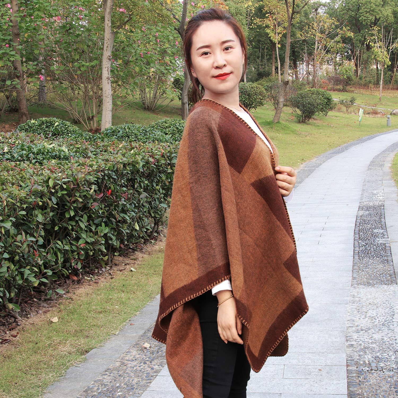 Lavorato a Maglia Cachemire Poncho Capes Scialle Cardigan Maglione Cappotto Conysan/Invernale da Donna Grande Tartan Cashmere Pashmina Elegante sciarpa