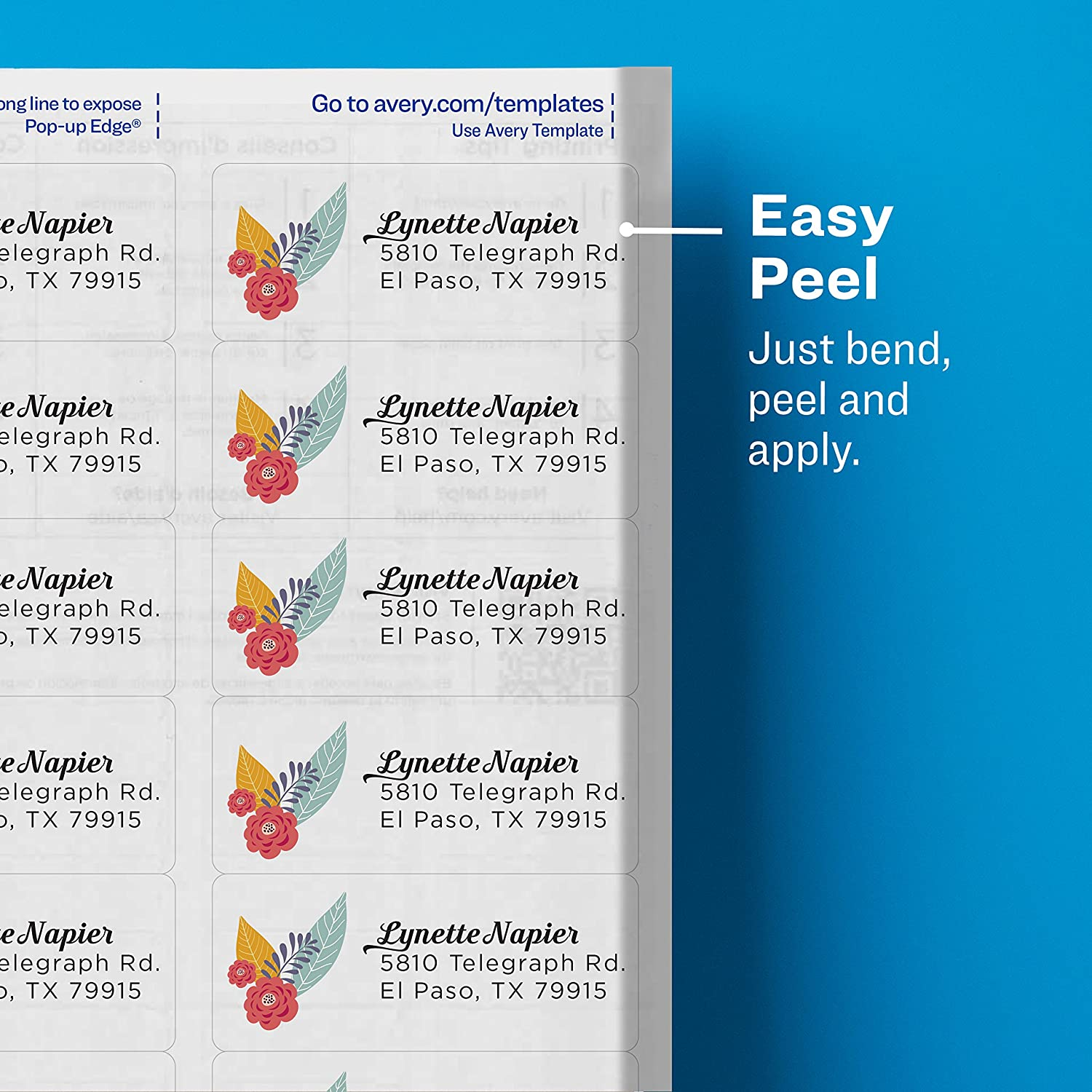 Avery 5662 Easy Peel 1 13 Inch X 4 Inch Clear Address Labels 700