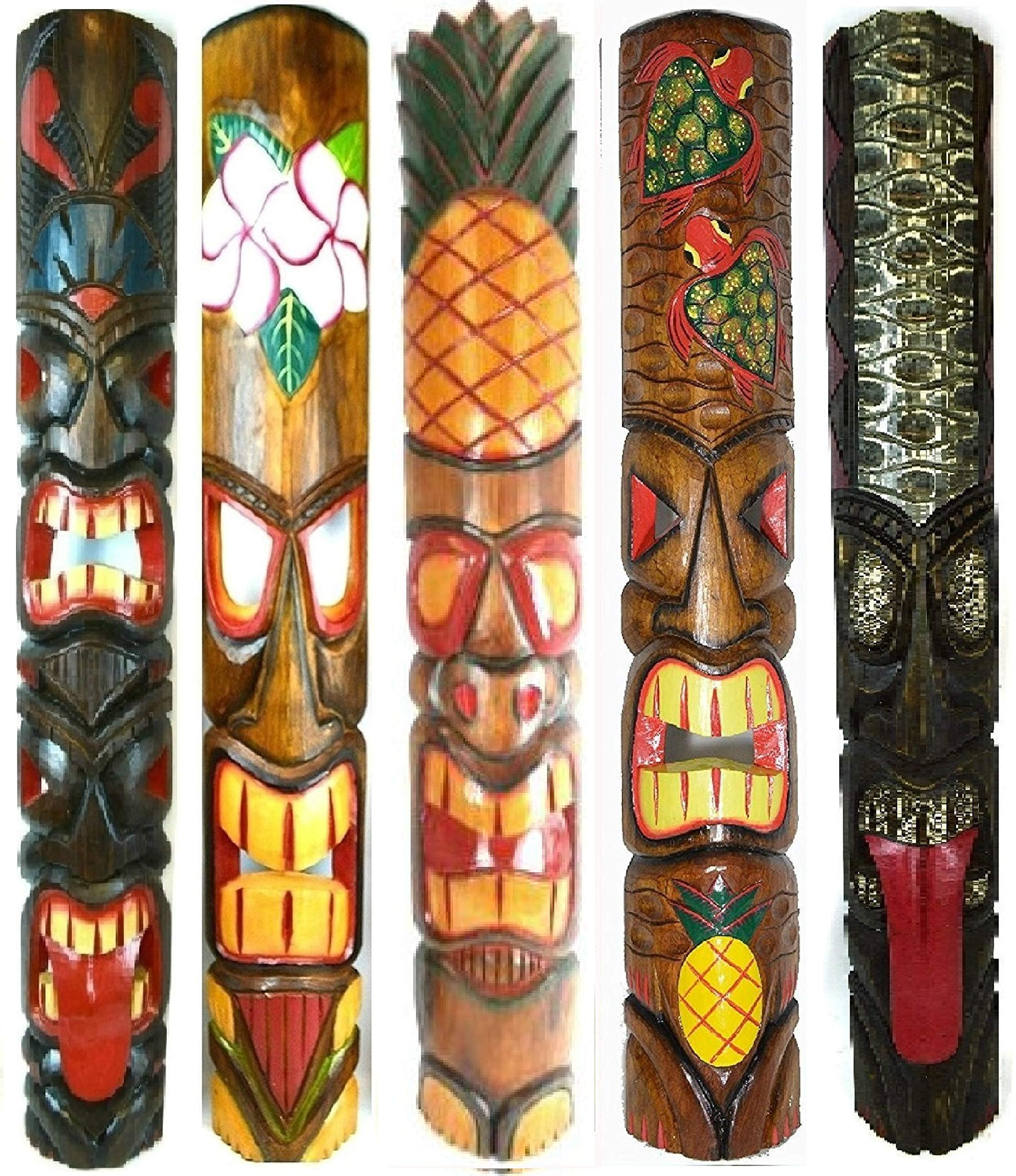 Set of 5 40'' Polynesian Hawaiian Tiki Bar Style Wall Masks Island Art by WorldBazzar