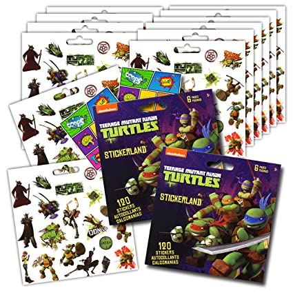 Teenage Mutant Ninja Turtles Stickers Party Favors - Bundle of 12 Sheets 240+ Stickers plus 2 Specialty Stickers