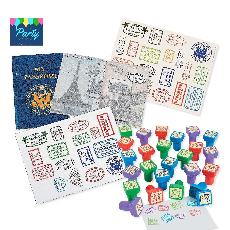 Amazon com: Travel Theme Party Supplies Favor Set - Passport