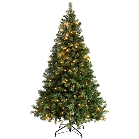 Werchristmas Pre Lit Spruce Multi Function Christmas Tree With 200 Led Lights 6 Feet 1 8 M Green