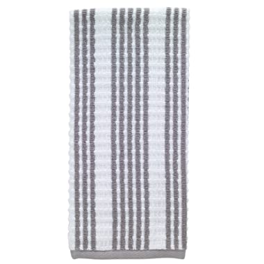 T-fal Textiles Striped Waffle 100% Terry Cotton, Highly Absorbent, Anti-Microbial, Oversized Kitchen Towel, 16  x 28 , Gray
