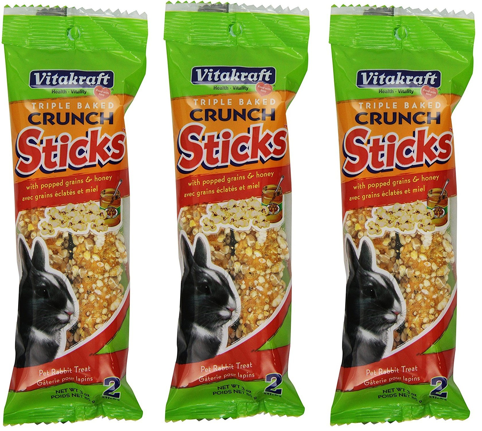 (3 Packages) Vitakraft Triple Baked Crunch Sticks - Rabbits