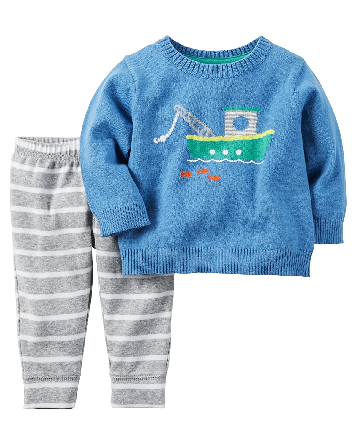 817b13e63 Amazon.com: Carter's Baby Boys' 2-Piece Tugboat Sweater and Pants Set:  Clothing