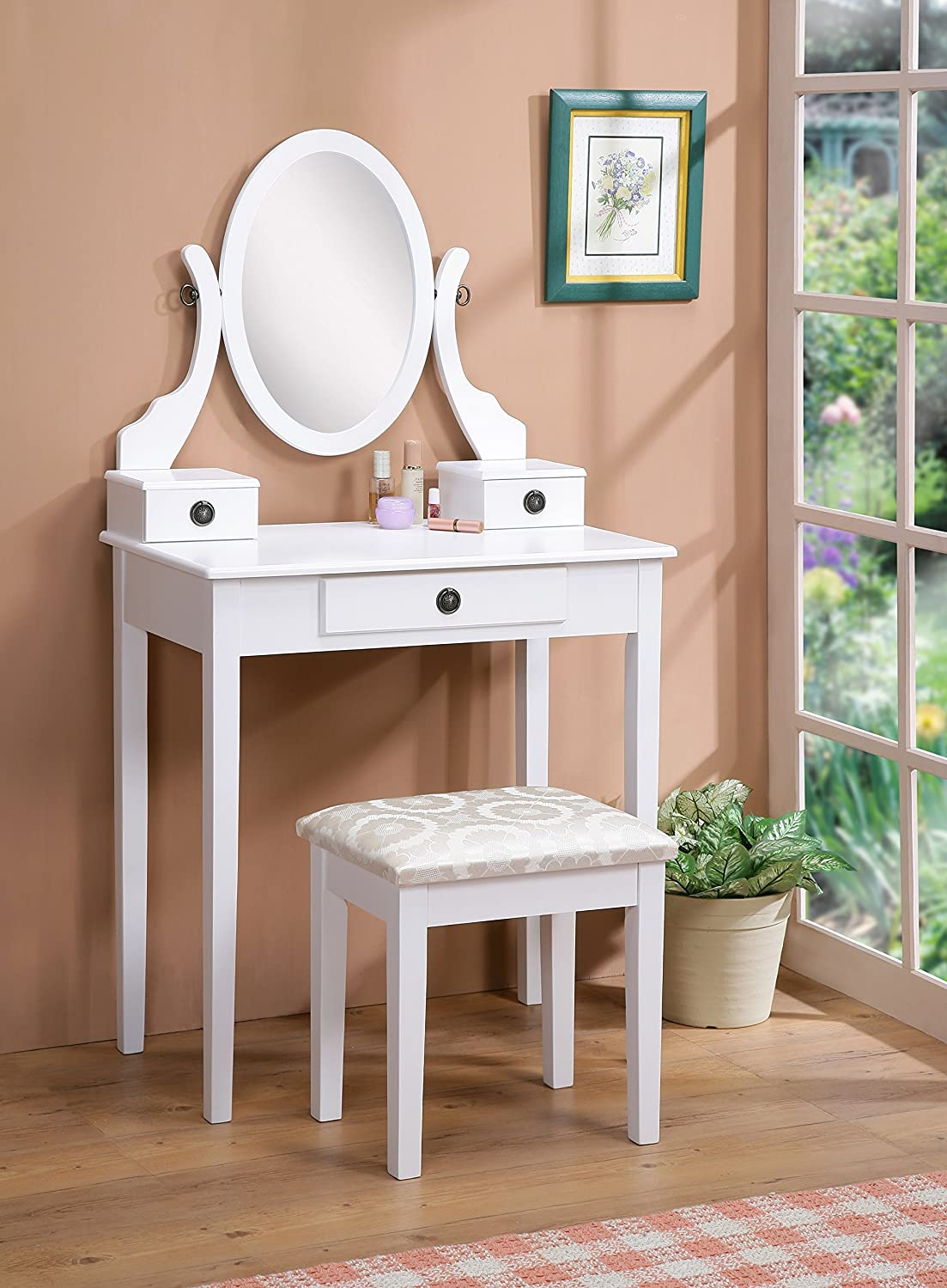 Roundhill Furniture Moniya White Wood Vanity Table and Stool Set