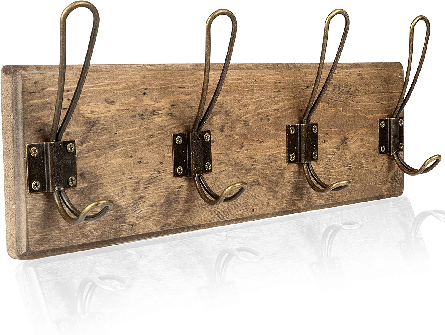 Amazon Com Wall Mounted Coat Rack Rustic Wooden 4 Hook Coat Hanger Rail Distressed Wood Antique Brass Hooks Office Products