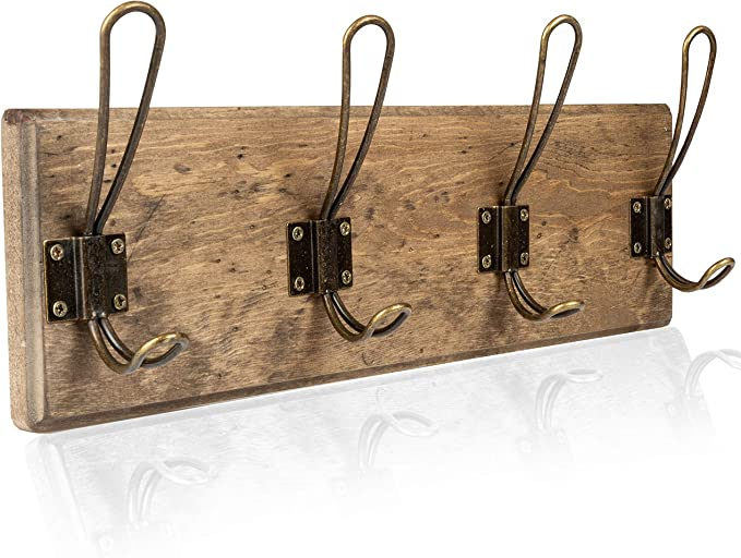 4//6 Hook Wall Mounted Coat Rack Hat Clothes Hanging Hanger Robe Holder Rail NEW