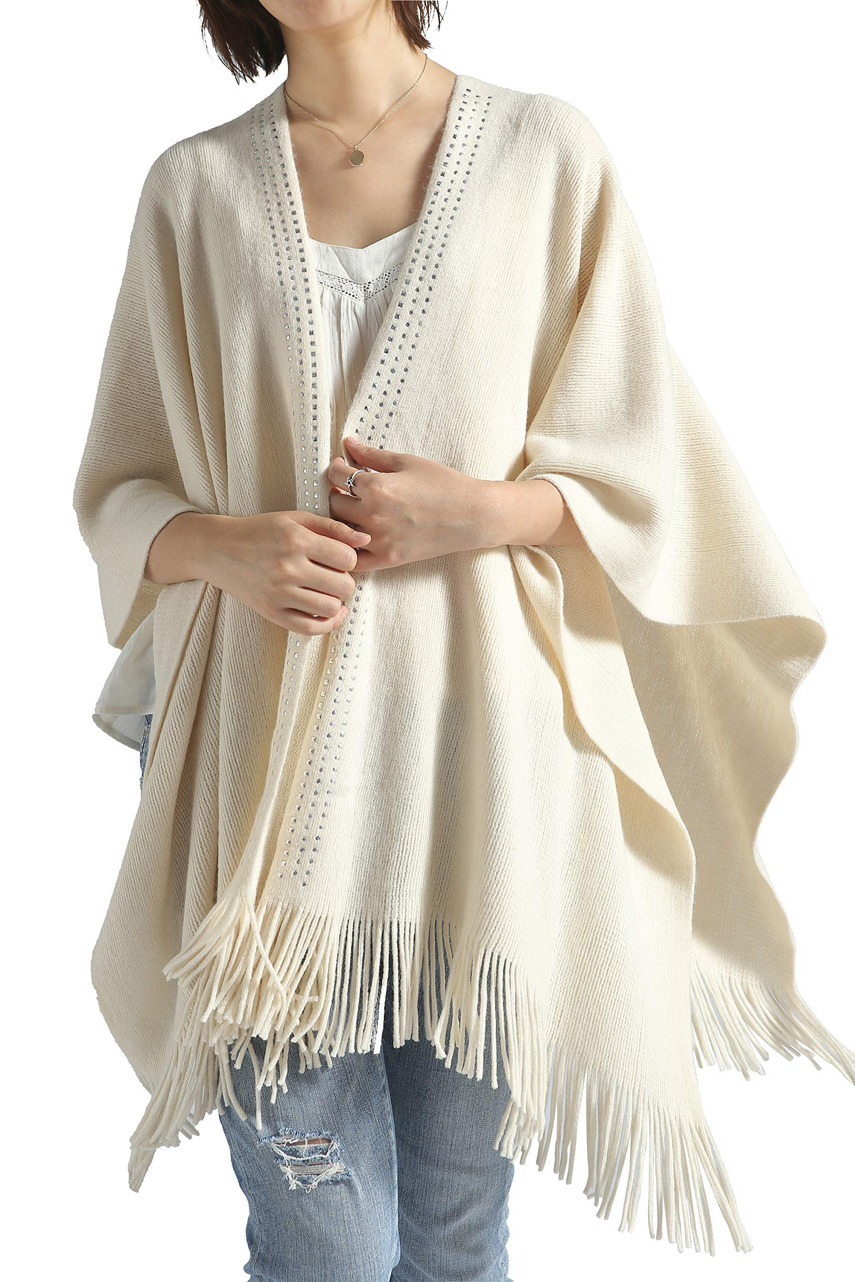 Women Poncho Shawl Cardigan Open Front Elegant Cape Wrap by Moss Rose (Image #2)