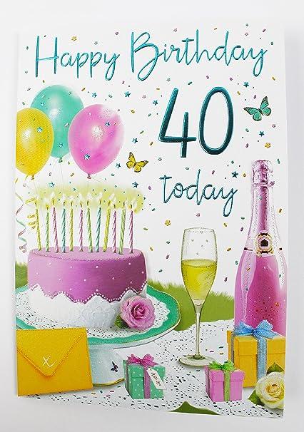 Happy 40th Tarjeta de cumpleaños para Her Ladies Womens ...