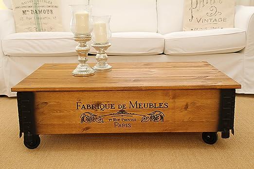 Mesa de centro baúl madera mesa auxiliar vintage estilo Shabby ...