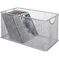 MyGift Silver Mesh Metal CD Holder Box Organizer, Open Storage Bin