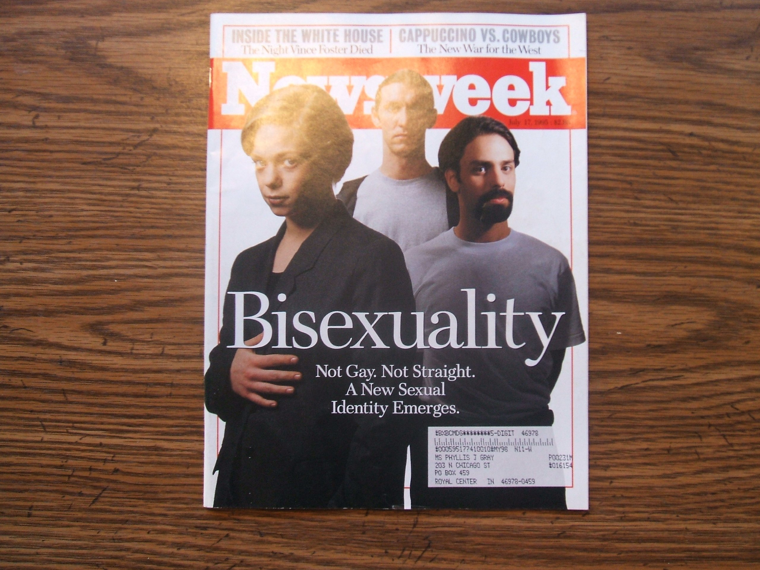 Bisexuality Newsweek July 17, 1995 (NOT GAY. NOT STRAIGHT. A NEW SEXUAL IDENTITY EMERGES. INSIDE THE WHITE HOUSE THE NIGHT VINCE FOSTER DIED, VOLUME CXXVI, NO. 3)