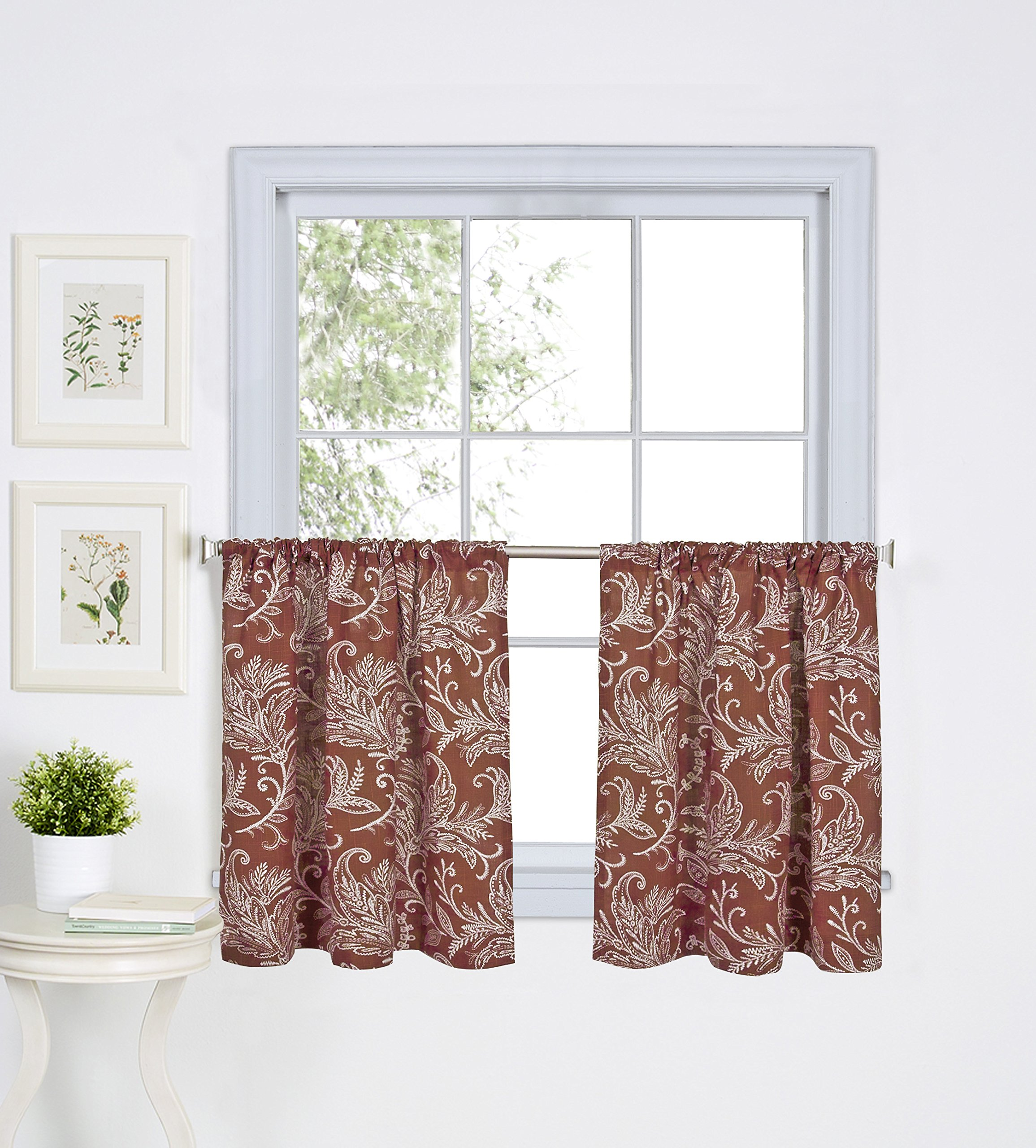 Elrene Home Fashions 26865775716 Floral Rod Pocket Kitchen/Café Tier Window Curtain, Set of 2, 30'' x 24'', Spice by Elrene
