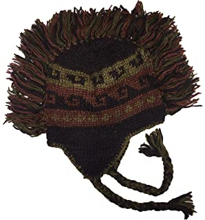 8a12a8c84a9 Cotton Konnection Mohawk Hand Knitted 100% Wool Double Layer Winter Hat  With Fleece Lining and