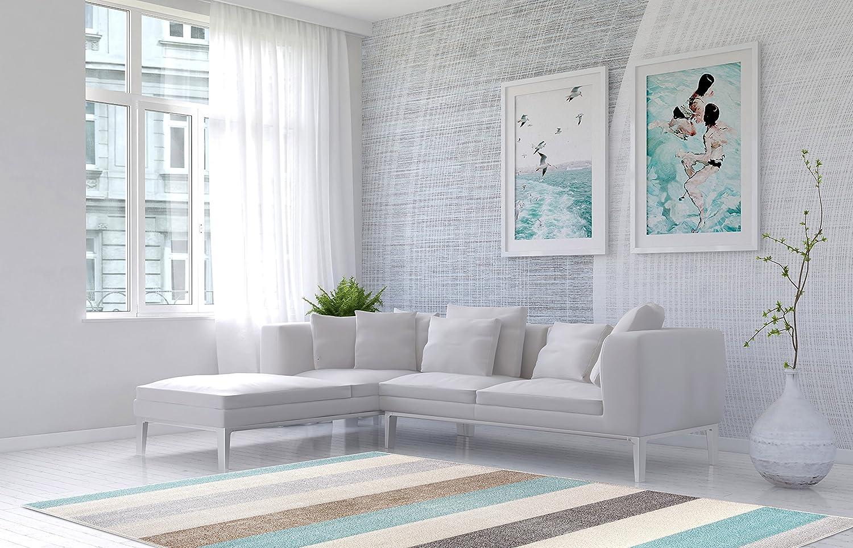 Designer Teppich Carpetforyou Marine Blau Stripes Streifen Blau