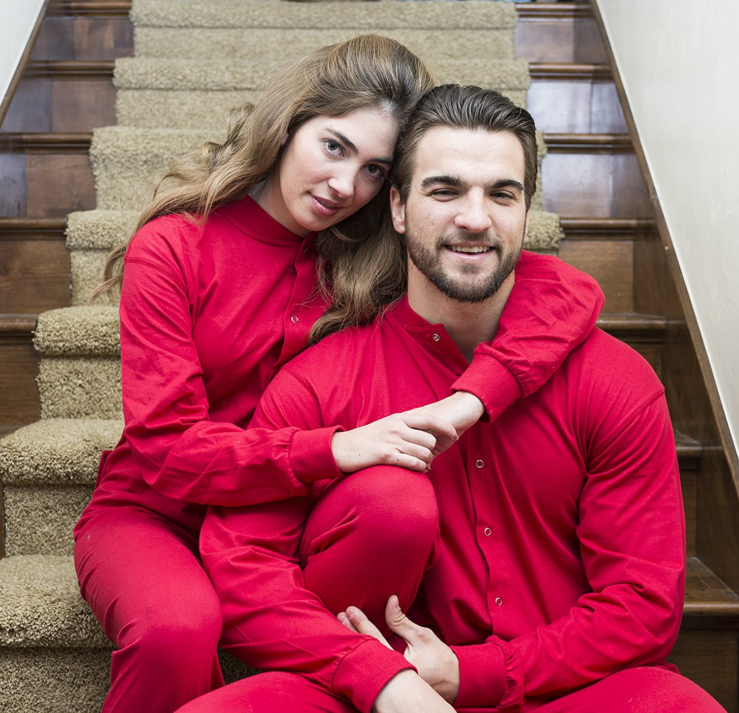 Red union suit onesie pajamas with funny butt flap no entry for men women  at amazon 82756c2e1