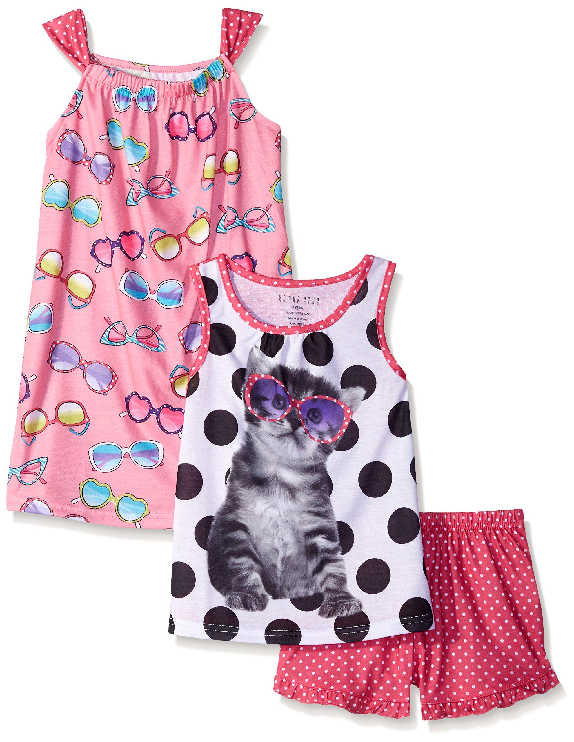 Komar Kids Big Girls 3 Piece Sleepwear Set Cat Short Set with Sunglass Print Gown, Pink, X-Small
