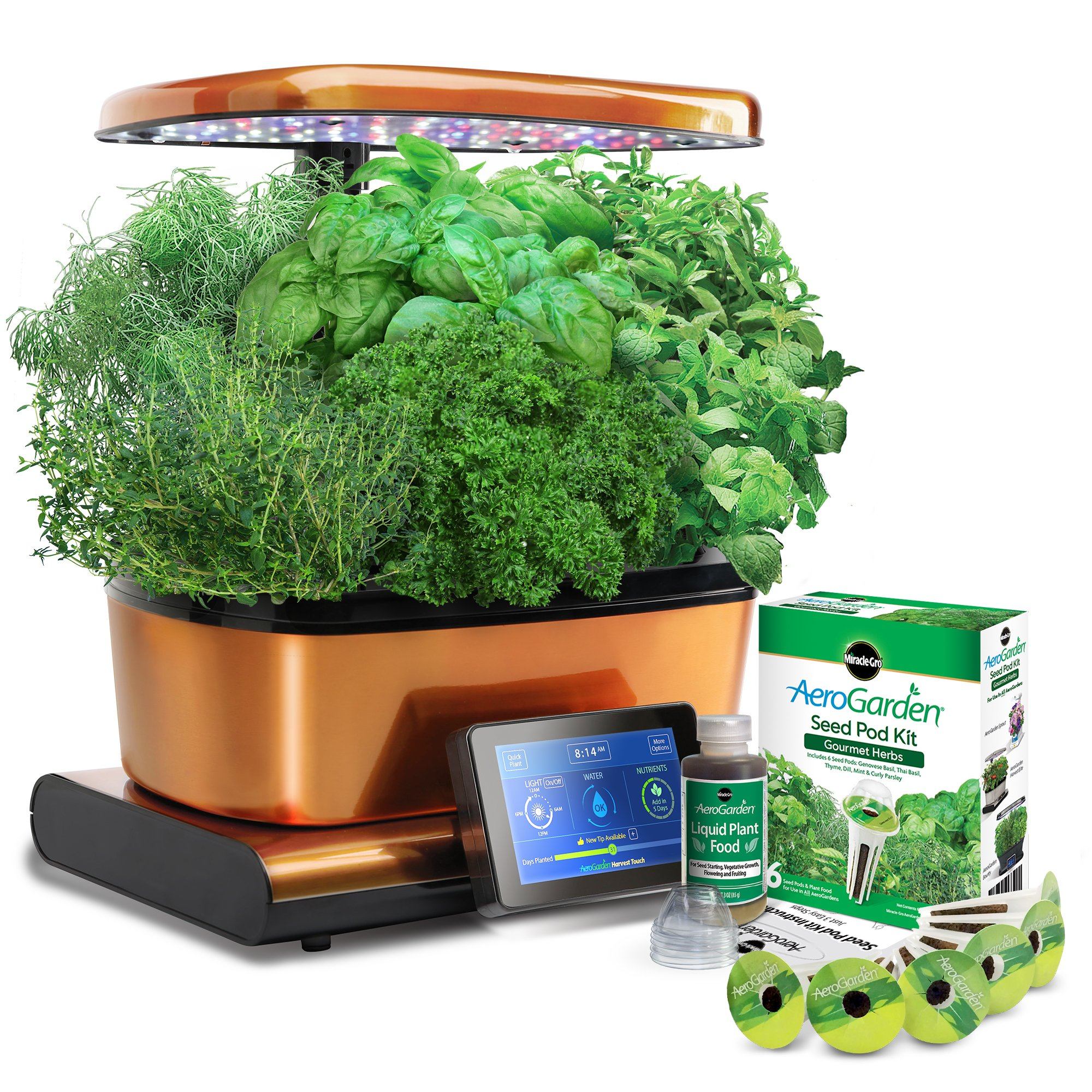 Harvest Touch by Aerogarden Copper Goldtone Stainless Steel Indoor Garden with Seed Starting Kit (See other available colors and options)