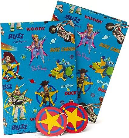 2 Feuilles de Bébé Garçon Cadeau Emballage Papier Emballage,Carte /& 2 Tags Bleu